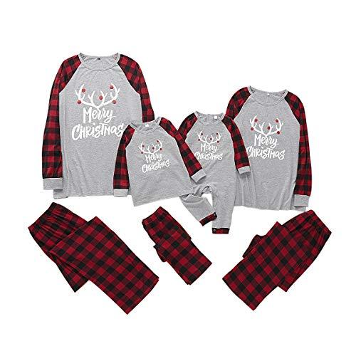 Borlai Pijamas Navidad para Familias Invierno Otoño Top+Pantalones Ropa de Dormir para Mamá Papá Niños Bebé Conjuntos Navideños de Algodón, Gris, Niño pequeño / 6-9 Meses