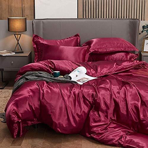 Bedding-LZ Funda de edredón 90,Bordado Anti-Seda Rosa de Gama Alta Multicolor Verano Lindo Sedoso Desnudo Dormir Seda Conjunto de Cuatro Piezas-K_2,0 m (4 Piezas)