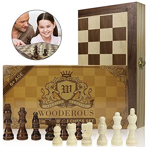 Juego de ajedrez 3 en 1 (29,5 x 29,5 cm), plegable, para niños y adultos en madera, 3 en 1, juego de tablero de ajedrez y damas portátil - Backgammon