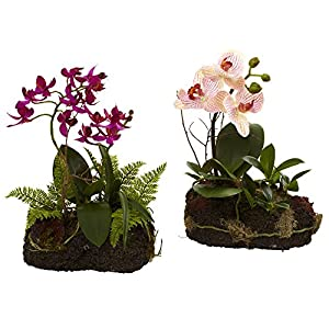 "Nearly Natural 4835-S2 Orchid Island Floral Arrangement, Set of 2,Red,12.5"" x 10.75"" x 7"""