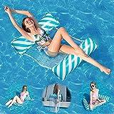 WR WPAIER Hamaca de Agua, Hamaca Inflable Flotante para Piscina 4 en 1, Hamaca Inflable Tumbona Piscina Plegable Colchoneta Hinchable Flotador Piscina Playa para Adultos