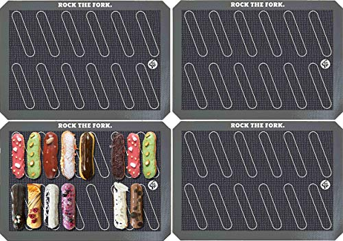 """Rock the Fork - Baking Mats - Eclair Template (4-pack) Non-Stick Silicone. These Eclair Mats are Designed for Style & Function. 11 5/8"""" x 16 1/2"""" Size."""