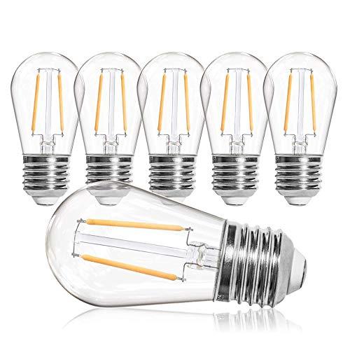 OxyLED 6 Packs E27 Retro Screw Bulb,2W LED Replacment Bulbs,LED Filament Bulbs 2500K Warm White,Vintage Energy Saving Light Bulbs for S14 Heavy Duty String Lights,Home Party Festival Christmas Decor