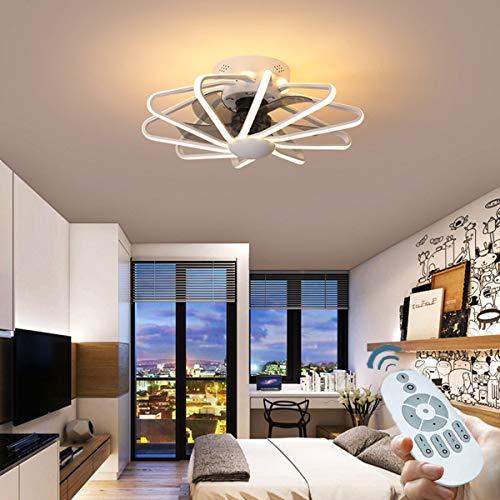 CDwxqBB Deckenventilator Mit LED-Beleuchtung, 220 V Reines Kupfer Mit Ferngesteuertem Motor, 112 W, Geeignet Für Kühlung Und Beleuchtung Im Wohn- Und Schlafzimmer,Weiß
