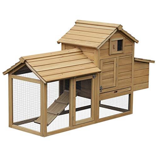 Pawhut Petit poulailler Cottage Cage à Poules sur Pied dim. 151L x 54l x 87H cm Multi-équipement Bois Massif de pin
