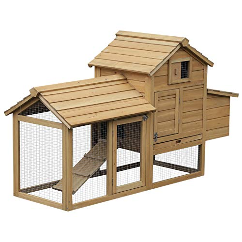 Pawhut Petit poulailler Cottage Cage à Poules sur Pied...