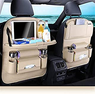 Car Backseat Organizer with Foldable Dining Table Holder Pocket Storage Kick Mats, Durable Quality Seat Covers,Luxury PU Leather Car Seat Back Organizer,Travel Accessories Organizer(Beige 2-pack)