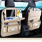 Car Seat Protector+Backseat Organizer with Tablet Holder and Foldable Tray, Durable Quality Seat Covers,Luxury PU Leather Car Seat Back Organizer,Travel Accessories Organizer. (Beige)
