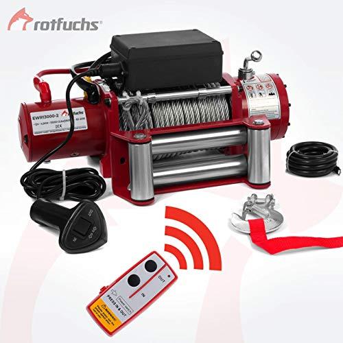 ROTFUCHS® Elektrische Seilwinde 13000lbs 5909kg 12V 6PS Offroad 4x4 Motorwinde Seilzug inkl. Funkfernbedienung Rot