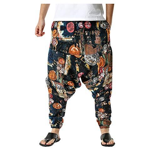 MITCOWBOYS Pantalones Mujer Lino Tallas Grandes con Cintura Elastica Livianos Sueltos de para Hippie Harem Aladdin Bohemio Yoga Pantalones