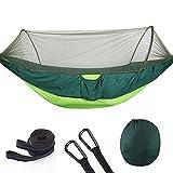 Hamaca de camping, ultraligera, hamaca portátil doble y individual, antimosquito, para mochileros, viajes, playa, patio, senderismo.