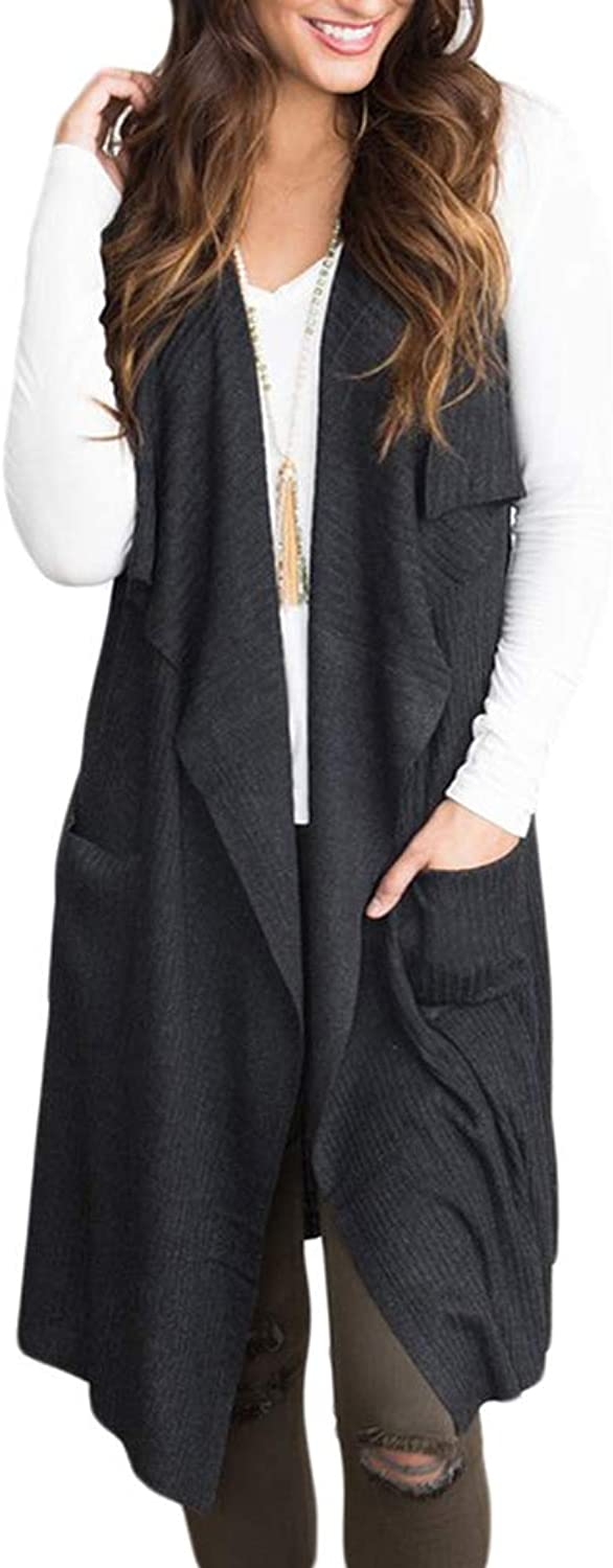 Women's Long Open Pocket Cardigan Ladies Casual One Button Sleeveless Knit,Black,S