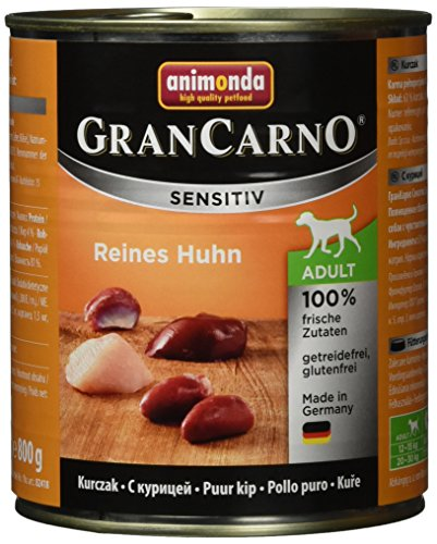 animonda GranCarno Hundefutter Adult Sensitiv, Nassfutter für ausgewachsene Hunde, Reines Huhn , 6 x 800 g