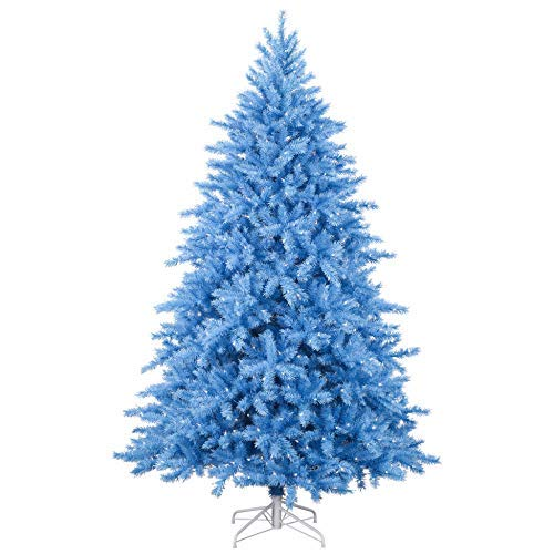 Treetopia Baby Blue 7.5 Foot Artificial Full Bodied Prelit Christmas Tree or Easter Decor with Clear White Lights, On/Off Foot Pedal, and Premium Stand