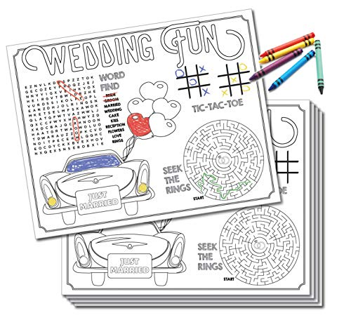 UP THE MOMENT Kids Wedding Activity Placemats - 24 Count, Wedding Coloring for Kids, Kids Table Wedding Activities, Wedding Activities Placemats, Kids Wedding Favors