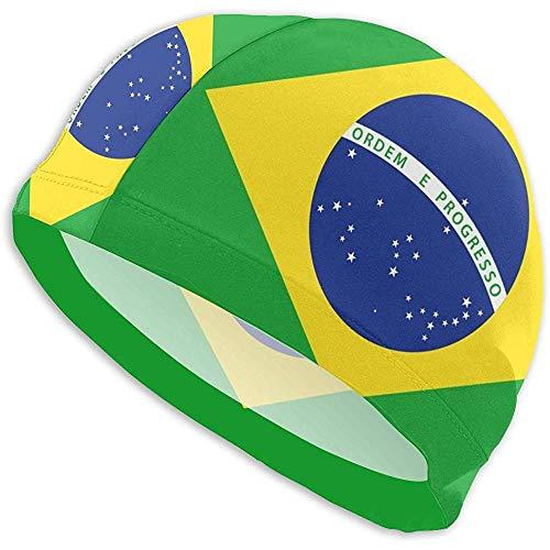 Like Moon Swim Cap Cuffia da Nuoto per Donna Uomo Bandiera del Brasile Cuffia da Nuoto in Poliestere Spandex per Capelli Lunghi per Ragazze Ragazzi