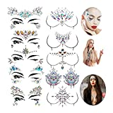 Nrpfell 10 Sets Pegatinas de Gemas Faciales Pegatinas de JoyeríA para el Cuerpo del Pecho Pegatinas de Tatuaje de PezóN de Cristal para Decoraciones de Diamantes Pegatinas de Tatuaje