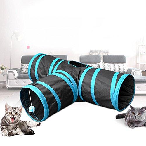 beautijiam Katzentunnel T-Form Tunnel ausziehbar klappbar Katzenspieltunnel Spielzeug Katzenhaus mit Ball für Katze Welpen Kätzchen Kaninchen