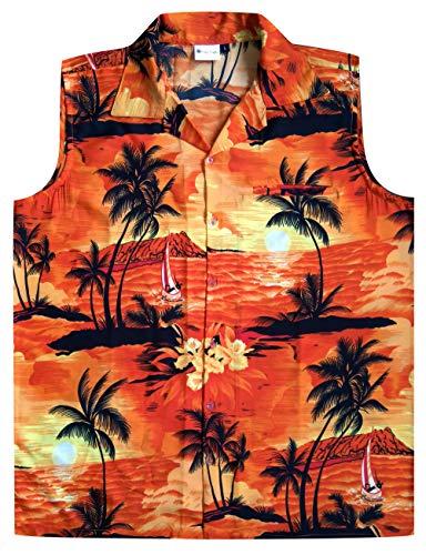 Virgin Crafts Hawaiian Shirt for Men Aloha Beach Sl-Orange L