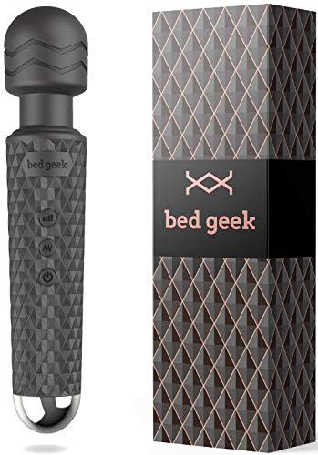 Masajeador inalámbrico bed geek a prueba de agua para espalda cuello hombros y piernas 20 patrones de vibración y 8 velocidades para aliviar el estrés Wand Massager Negro