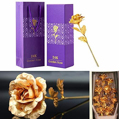 TINYOUTH 24 Karat Vergoldete Rose Golden, 24K Goldene Rose Handgefertigt Konservierte Rose, Blattgold Rose mit Geschenkbox für Geburtstag Geschenk Freundin Muttertag Hochzeitstag Künstliche
