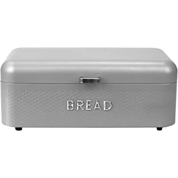 Home Basics Box for Kitchen Counter Dry Food Storage Container, Bin, Store Bread Loaf, Dinner Rolls, Pastries, Baked Goods, SOHO GREY