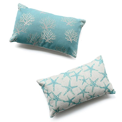 Hofdeco Decorative Set of 2Pcs Throw Pillow Case Modern Aqua Turquoise Coral and Starfish Coastal Nautical Indoor Outdoor Cushion Cover 12x20 Inches