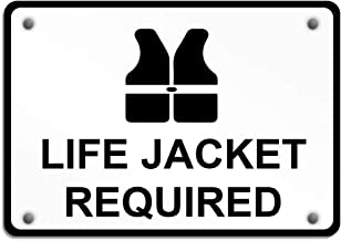 Aluminum Weatherproof Metal Sign Multiple Sizes Life Jacket Required 14X10Inches Horizontal Street Signs 1 Sign