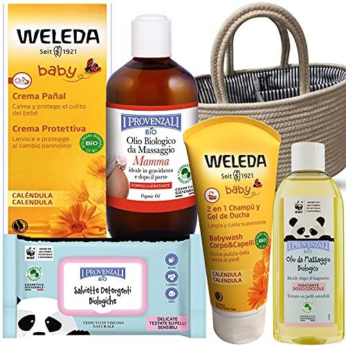 Canastilla Regalo Recién Nacido .Set de productos BIO Pack de seis productos con bolsa de algodón