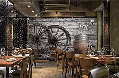 Wanghan 3D Tapete Individuelle Tapeten Retro Brick Wall Autorad Weinfass Bar Hintergrund Restaurant Fototapete-350Cmx245Cm