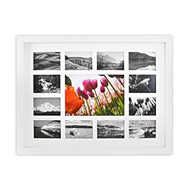 Golden State Art 13-Opening 12x16-inch Collage Photo Wood Frame with White Mat & Real Glass, White