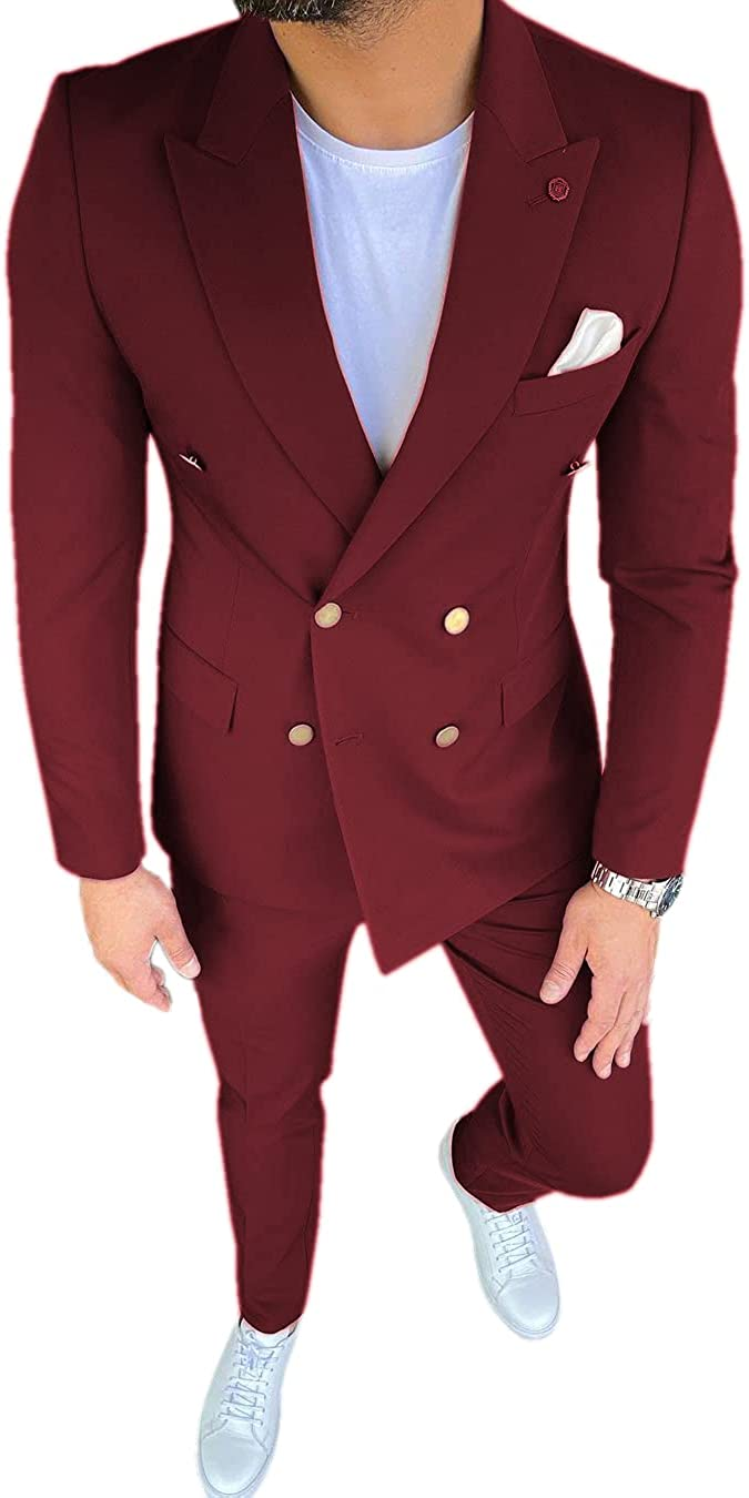 JinXuanYa Casual Men Suits Slim Fit 2 Piece Double Breasted Prom Tuxedos Business Blazer+Pants Wedding Groomsmen