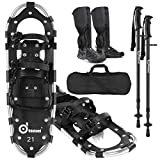 Odoland 4-in-1 Snowshoes Snow Shoes for Men and Women with Trekking Poles, Carrying Tote Bag and Waterproof Snow Leg Gaiters, Lightweight Aluminum Alloy Snow Shoes, Black, Size 30''