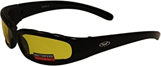 Global Vision Chicago Padded Riding Glasses (Black Frame/Yellow Lens)