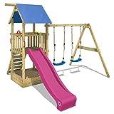 WICKEY Spielturm Smart Echo Spielplatz Kletterturm mit Sandkasten, Doppelschaukel und Violette...