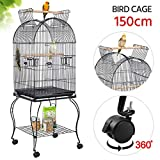 Yaheetech Large Parrot Bird Cage Cockatiel Sun Parakeet Green-Cheek Conure Canary Lovebird Budgie Parrotlet Finch Parrot Cage Open Top with Detachable Stand
