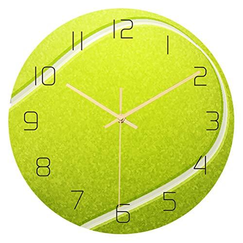 CLISPEED Pelota de Tenis Reloj de Pared Creativo Movimiento Mudo Reloj de Pared Redondo Deportes Pared Silencioso Reloj Hogar Pared Arte Decoración