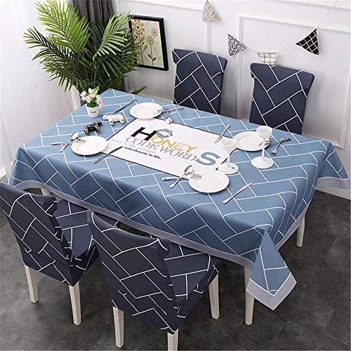 WSJIABIN Tischdecke aus Baumwolle und Leinen, Digitaldruck, wasserdicht, öldicht, rechteckig, elastisch, wiederverwendbar, geeignet für Innen- und Außenbereiche, 140 x 210 cm