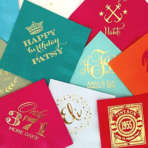 Personalized Cocktail Napkins Custom Colored Napkins Personalized Fiesta Napkins Bright Party Napkins Foil Printed Napkins
