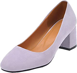 Judy Bacon Women's Classic Faux Suede Low Cut Slip On Pumps Shoes