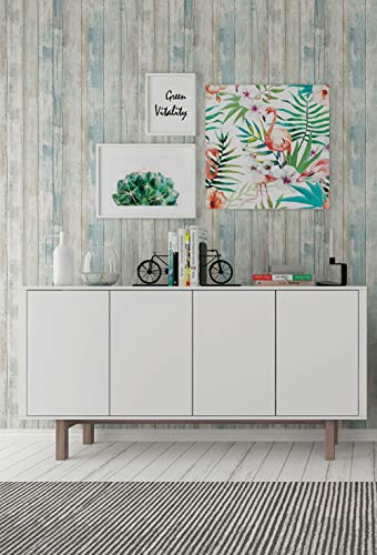 """Wood Wallpaper 17.71"""" X 196"""" Self-Adhesive Removable Wood Peel and Stick Decorative Wall Covering Vintage Wood Panel Interior Film Surfaces Easy to Clean"""