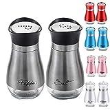 2 Pack Cute Salt and Pepper Shakers Stainless Steel Glass Bottom Spice Dispenser Sea Salt Sugar Shaker Refillable Pepper Shaker Seasoning Cans (Sliver)