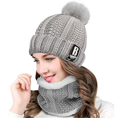 QS_Go Conjunto de Sombrero de Punto de Mujer Sombrero de Punto de Mujer Sombreros de Moda Gorras para Mujer Sombreros de Invierno Calentar Sombreros Gorras Gorro de Invierno Tipo Otoño (Gris)