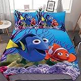 GEHIYPA Find-ing Ne-mo 3-teiliges Bettwäsche-Set für Doppelbett, bequem, weich & atmungsaktiv, mit zwei Kissenbezügen & einem Bettdeckenbezug, hält warm, dreiteiliges Betttuch
