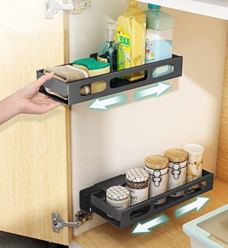 YunNasi 1 organizador de armario de cocina extraíble en acero inoxidable para debajo del fregadero, organizador de armario para cajones y cajones deslizantes para cocina (negro, M: 35 x 12,5 x 5 cm)