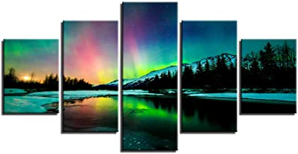 Painting Living Room Wall Art Frame HD Photo 5 Board Aurora Landscape Poster Canvas Modular Artwork Decoration Picture