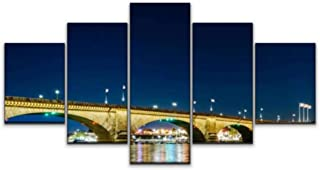 Skipvelo 5 Panels Wall Canvas Prints Pictures, London Bridge Lake Havasu Arizona arizonas and Pictures Wall Paintings Wall Decor Stretched and Framed Ready to Hang