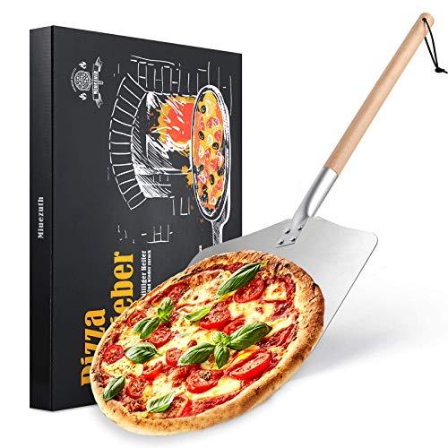 Miuezuth Professionellen Aluminium Pizzaschaufel - Alu Pizzaschieber mit großer Fläche (30,5cm x 33,5cm), Pizza Schieben with Dismountable Langen Holzgriff - 83cm