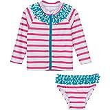 SwimZip niña Manga Larga Rash Guard Swimsuit Set UPF 50+ Splish Splash–bebé - Rosado -