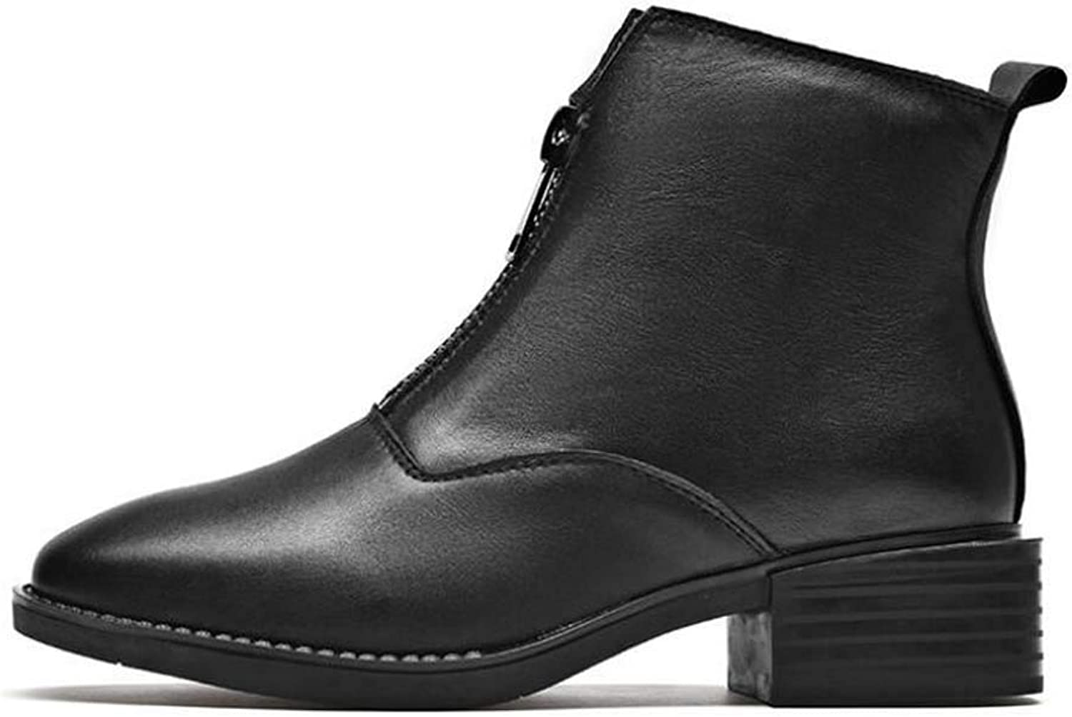 Women Martin Boot Ankle Booties Square Toe Zipper Casual Court shoes Knight Boot EU Size 35-40